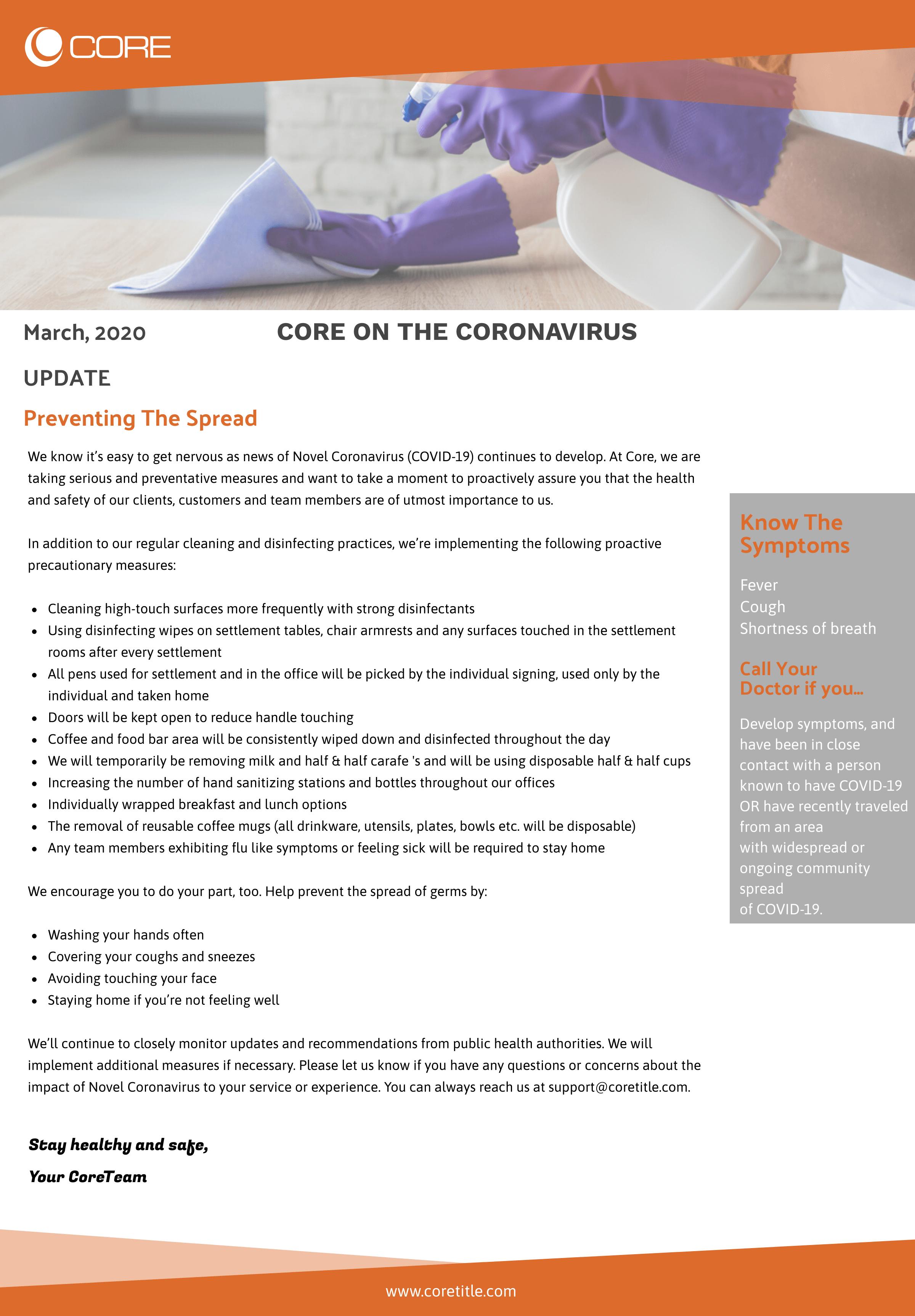 Core on Coronavirus